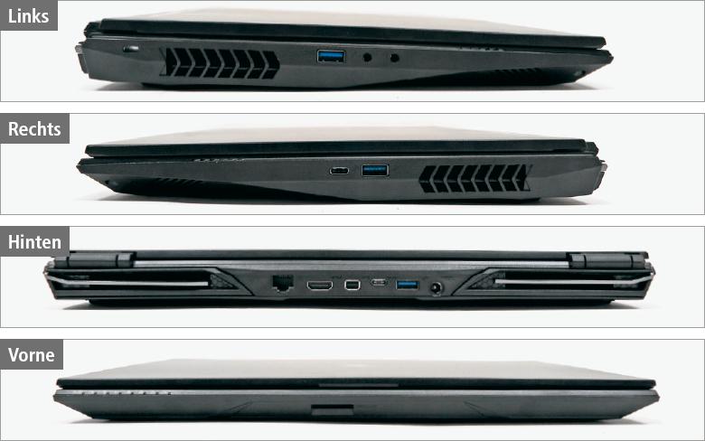 Sietliche Aufnahmen desGaming-Notebook Tuxedo XC1510, die die Anschlüsse zeigen