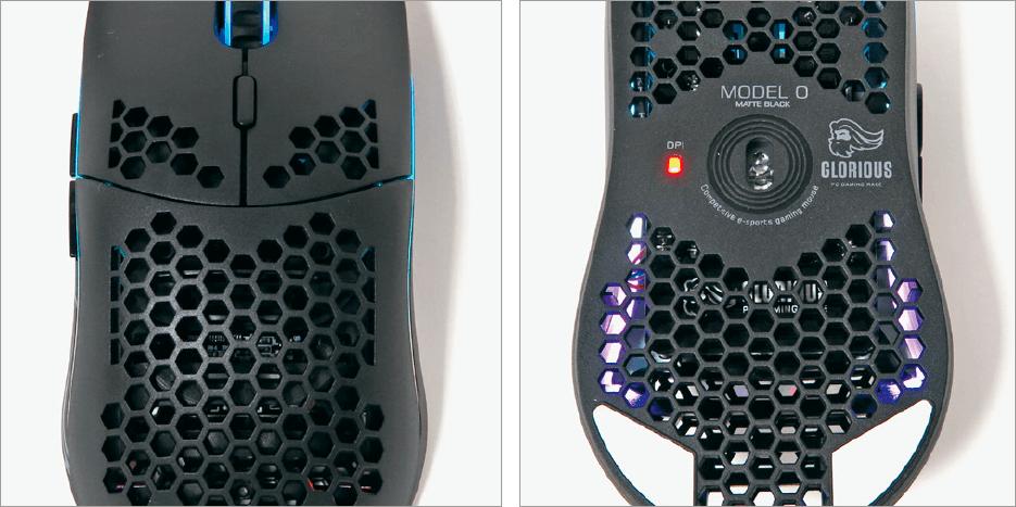 Ober und Unterseite einer Gaming-Maus nebeneinander