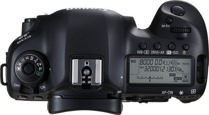 Kamera: Oberseite einer Kamera mit Display und verschiedenen Knöpfen