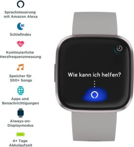 Einige der Smartwatch-Funktionen der Fitbit Versa 2